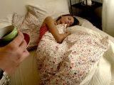 Skinny brunette young girlfriend Tijana sucking a giant phallus on camera