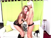 Tempting blonde shemale babes Kate And Melina sucking a massive phallus in a threesome