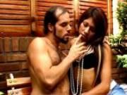Slutty brunette tranny girl Mina undressing her boyfriend and giving blowjob