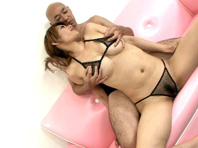 Ravisher busty japanese siren Moe Aizawa gets hairy pussy fingered by a horny dude