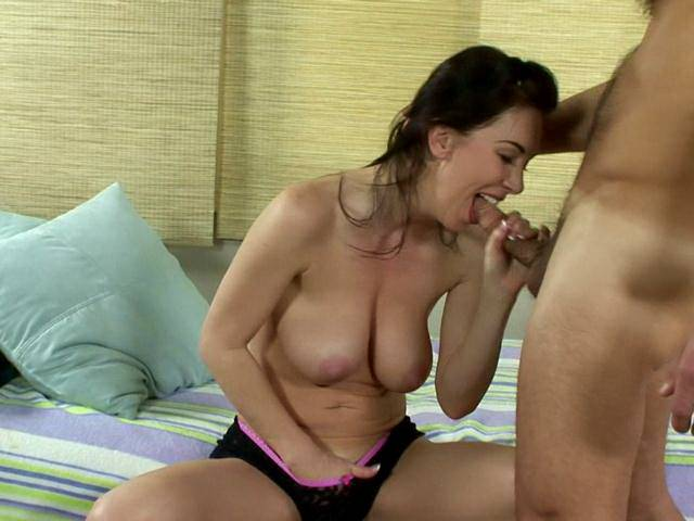 Busty brunette milf nympho Rayveness rub pussy and give blowjob