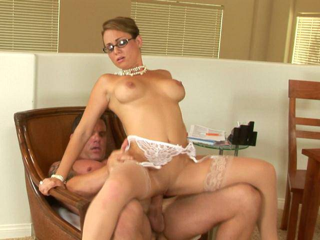 Stockinged brunette mature babe Holly West riding a thick cock