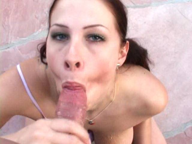Pigtailed amateur whore with huge tits Gianna licking a massive dick in POV style outdoors