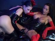 Sexy brunette slave in latex lingerie Hilbel Zadlo gets pussy and ass fingered and toyed by a mistress