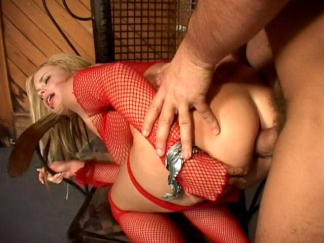 Big breasted fetish whore in fishnets Alicia Rhodes riding anally a large shaft