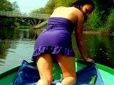 Enticing amateur wife Dasha showing her booty upskirt on a boat