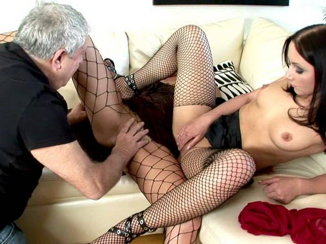 Sexy Russian harlots in fishnets Ravenna And Beatrice getting pink pussies fingered and licked by a horny dude
