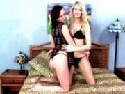 Superb Russian lesbian teen babes Stacy And Jane sharing a lucky dude in bedroom