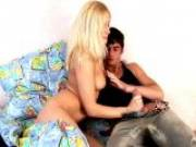 Superb blonde Russian teen honey Kate sucking a thick penis with lust